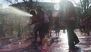 Students gathered in the quad Friday to celebrate Holi, the Hindu celebration of spring.Students gathered in the quad Friday to celebrate Holi Moli, the Hindu celebration of spring.
