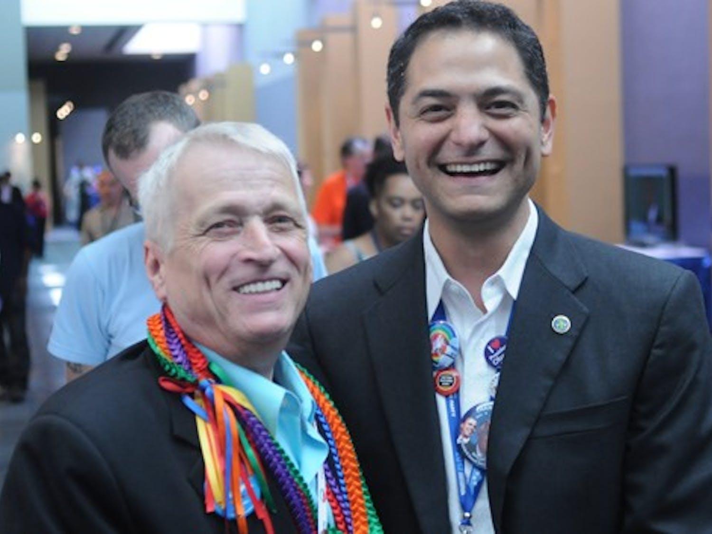 Mayor Kleinshmidt with Rick Stafford, LGBT Caucus chairand veteran Democratic activist.