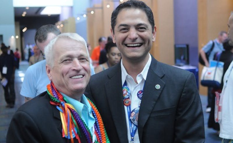 Mayor Kleinshmidt with Rick Stafford, LGBT Caucus chair