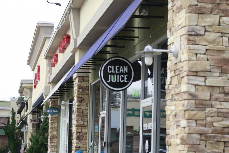Clean Juice, a smoothie shop, in the Eastgate Shopping Center, located at 1800 E Franklin St in Chapel Hill.