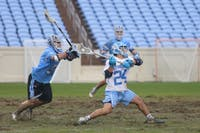Midfielder Ara Atayan (24) shoots the ball during the game versus Johns Hopkins in Kenan Memorial Stadium on Saturday, Feb. 23, 2019. UNC lost 10-11.