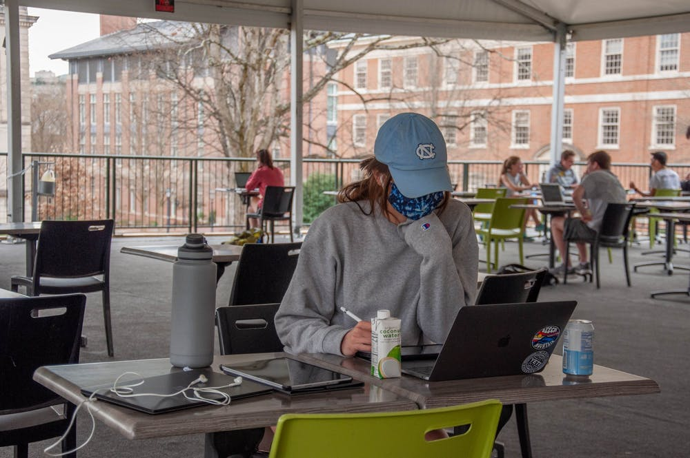DTH Photo Illustration. A recent study at UNC has shown that anxiety in first -year students has increased in the past year with the pandemic and distance-learning.