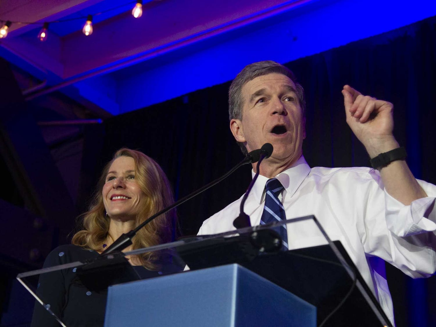 """Gov. Roy Cooper speaks at a North Carolina Democratic Party event for Super Tuesday in Raleigh on Tuesday, March 3, 2020. """"I believe the state government should look like the people that it serves,"""" he said."""