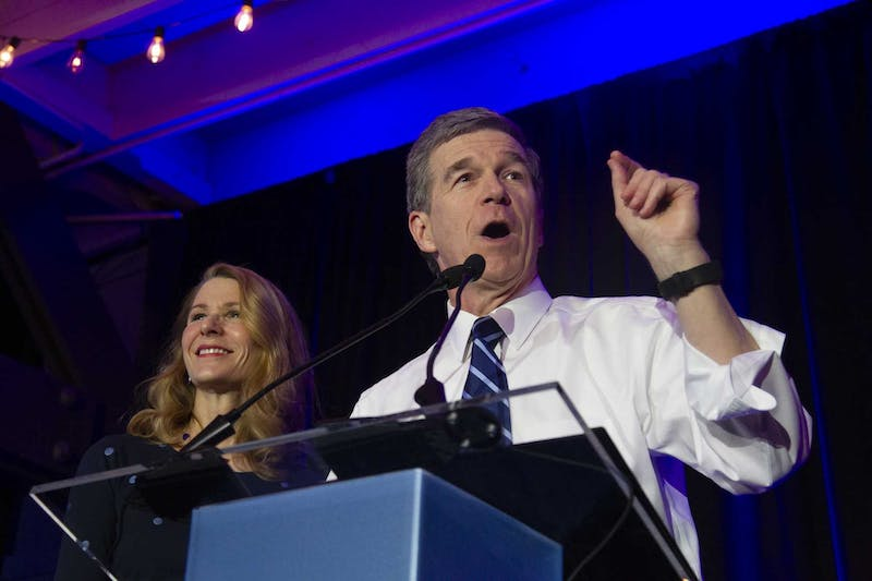 "Gov. Roy Cooper speaks at a North Carolina Democratic Party event for Super Tuesday in Raleigh on Tuesday, March 3, 2020. ""I believe the state government should look like the people that it serves,"" he said."