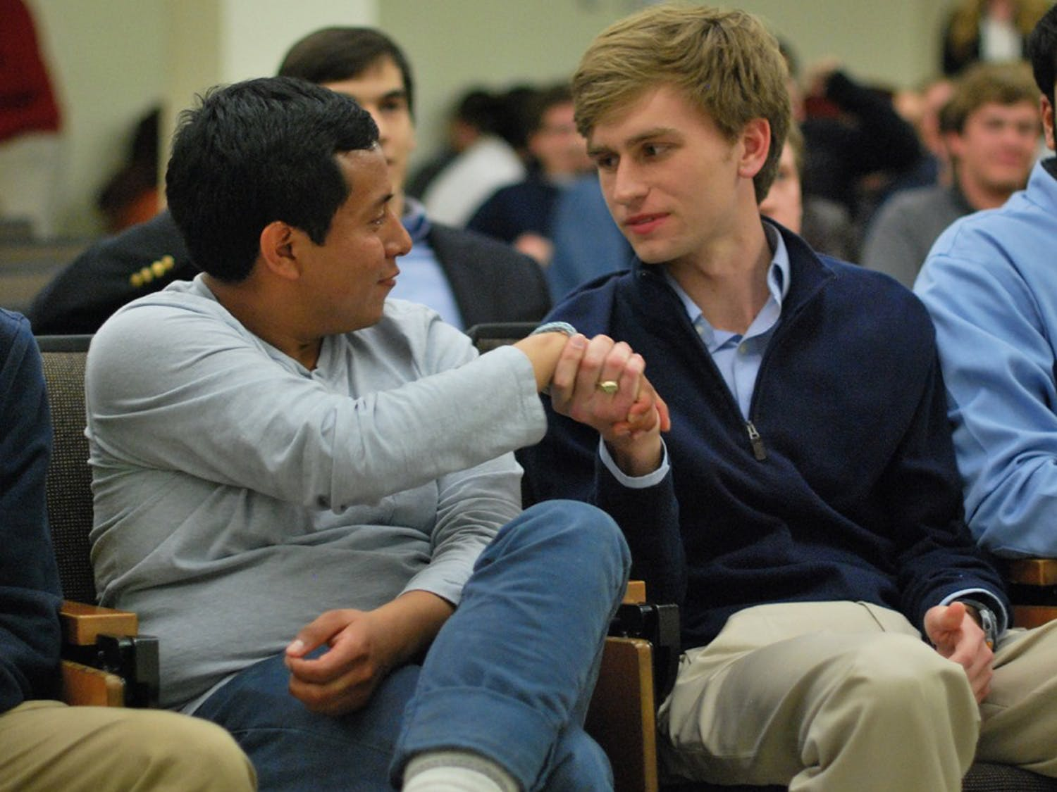 Andrew Powell shakes hands with Emilio Vincente after winning the Student Body President runoff election last night. Andrew won with a 62.9% majority and 4,760 votes.