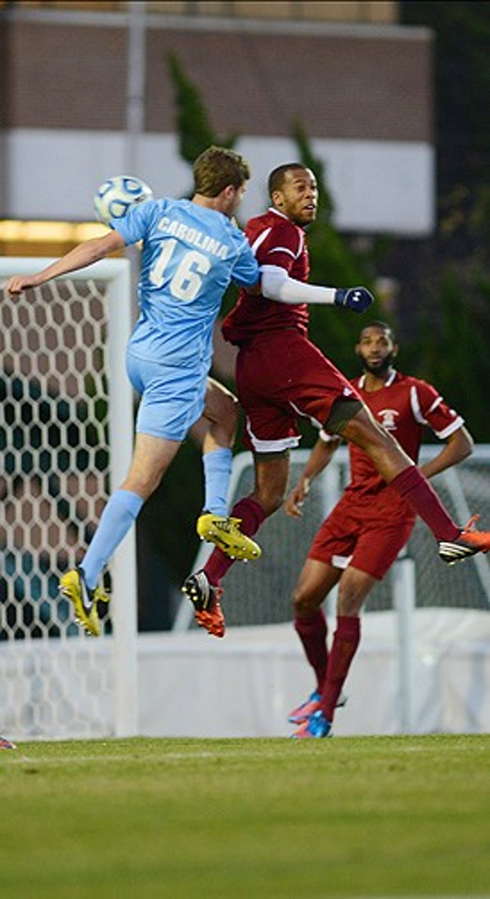 <p>Rob Lovejoy, who assisted on the game-winning goal, skies for a header against Fairleigh Dickinson Sunday night. </p>
