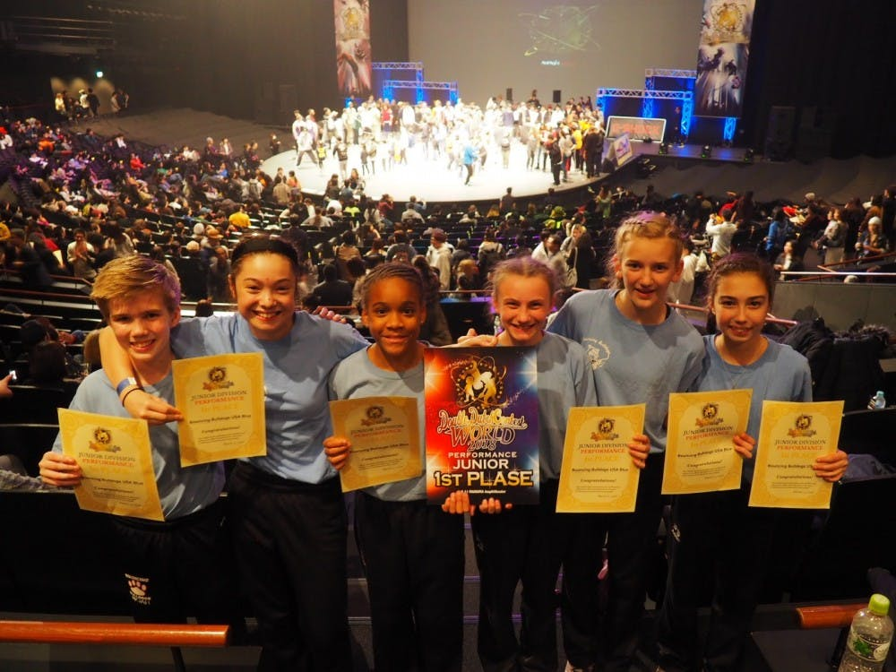 <p>&nbsp;12 and under group that won first in performance category of 12-and-under division. Left to right: Noah Hirsch, Elena Oh, Sophia Berry, Ava Winslow, Lilly James, and Addie Gilner. Photo courtesy of Megan Shohfi.</p>