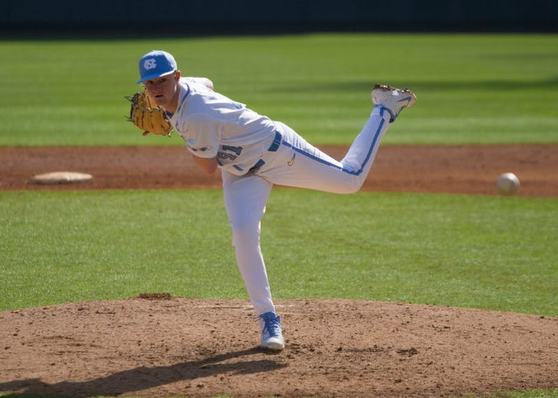 UNC pitcher first-year Will Sandy (41) throws a pitch for the Tar Heels against South Florida Sunday, Feb. 24, 2019 at Boshamer Stadium. UNC beat South Florida 2-1.