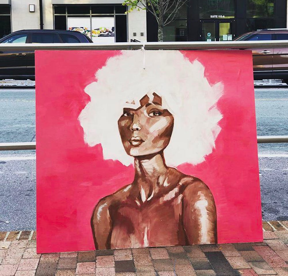 "<p>""Lady in Pink"" by Sophie Vaughn was one of the paintings in the Meet the Moment Art Walk on Franklin Street that went missing. Photo courtesy of Sophie Vaughn.</p>"