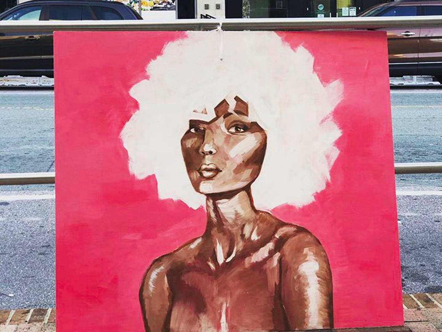 """Lady in Pink"" by Sophie Vaughn was one of the paintings in the Meet the Moment Art Walk on Franklin Street that went missing. Photo courtesy of Sophie Vaughn."