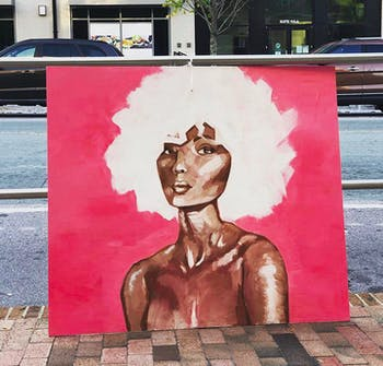 """""""Lady in Pink"""" by Sophie Vaughn was one of the paintings in the Meet the Moment Art Walk on Franklin Street that went missing. Photo courtesy of Sophie Vaughn."""