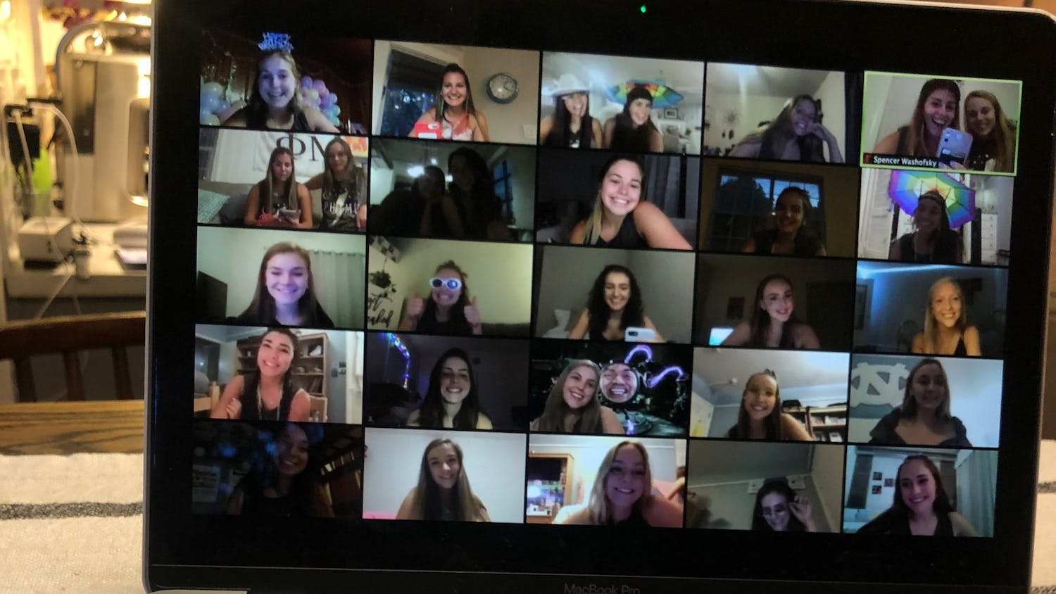 A virtual Recruitment event hosted by Phi Mu. Photo courtesy of Margaret Seets.