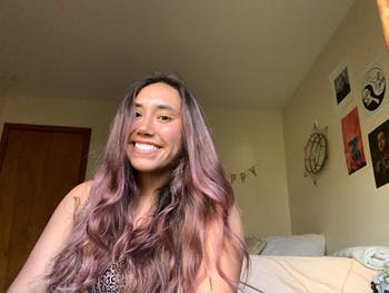 Junior Carlie Vasquez after dyeing her hair. Photo courtesy of Carlie Vasquez.