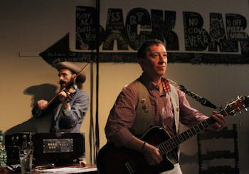 """David McKay (right) and Alasdair Macrae perform in The National Theatre of Scotland's play, """"The Strange Undoing of Prudencia Hart"""" at Back Bar."""