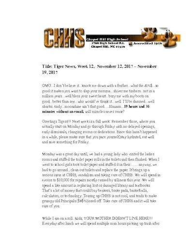 CHHS interim principal sends profane newsletter to parents