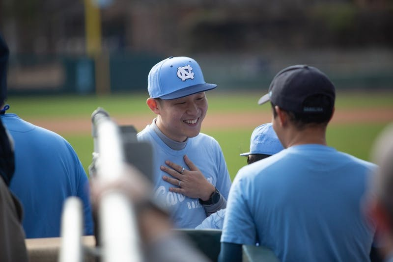 Chut Techalertavorkul traveled all the way from Thailand to throw out the first pitch at Boshamer Stadium. UNC won, 4-3, against UNCW on Feb. 26, 2019.