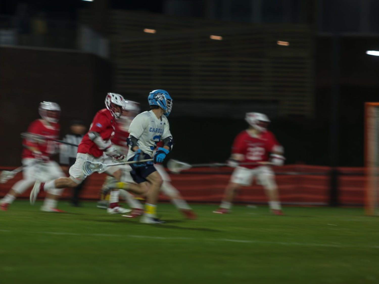 William Perry (UNC #3) scores a goal against Marist during the home lacrosse game on Friday, March 8 2019 in the UNC Lacrosse Stadium. Perry scored two goals during the game, helping the Tar Heels to a 17-5 victory over the Red Foxes