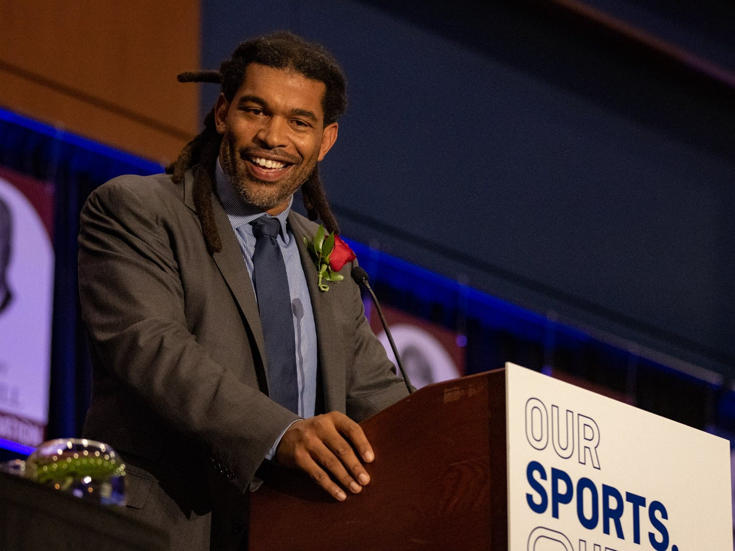 Julius Peppers delivers an acceptance speech at the North Carolina Sports Hall of Fame induction ceremony Friday.