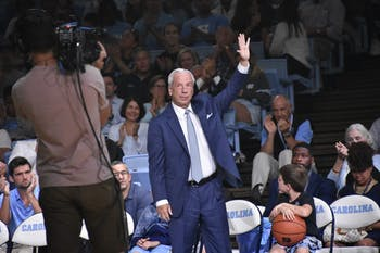 UNC men's basketball head coach Roy Williams waves to the crowd during Late Night with Roy on Oct. 12 at the Smith Center.