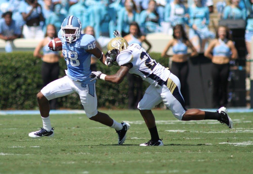 <p>Wide receiver Erik Highsmith scored one touchdown in the first half against Georgia Tech.</p>