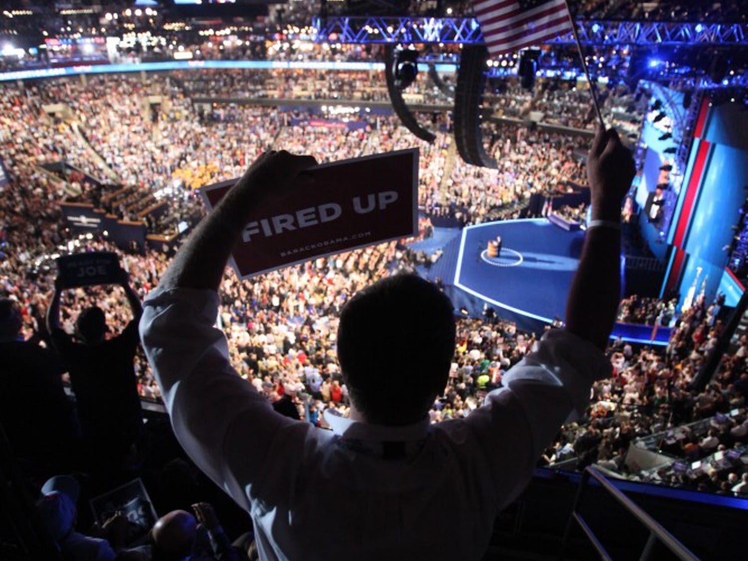 Spectators in Charlotte's Time Warner Cable Arena awaits President Barack Obama's speech accepting his nomination for re-election.