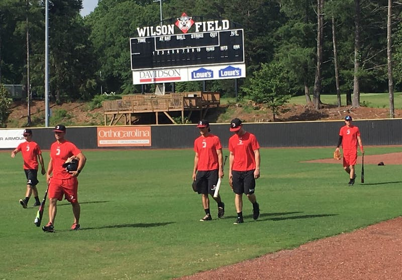 The Davidson baseball team walks onto Wilson Field for practice on May 30. The Wildcats playNorth Carolina on Friday at 6 p.m. in the regional round of the NCAA Tournament.