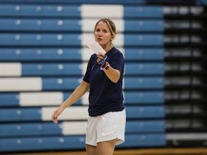 UNC women's basketball Head Coach Courtney Banghart announces instructions during an open practice in Carmichael Stadium on Thursday, Sept. 26, 2019.