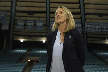 Courtney Banghart, the newly hired UNC women's basketball head coach, spoke at a small press conference in Carmichael Arena about her hopes for the program on May 1, 2019.
