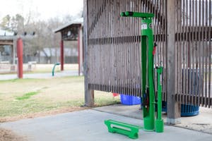 The town of Carrboro installed bike stations around town to offer places for cyclists to repair their bikes.