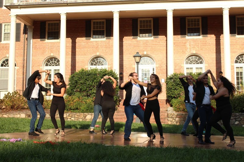 Qué Rico, UNC's premier latin dance team perform for the first time in the 2017 fall semester during CHispA's Carnaval event on Oct. 15, 2017.