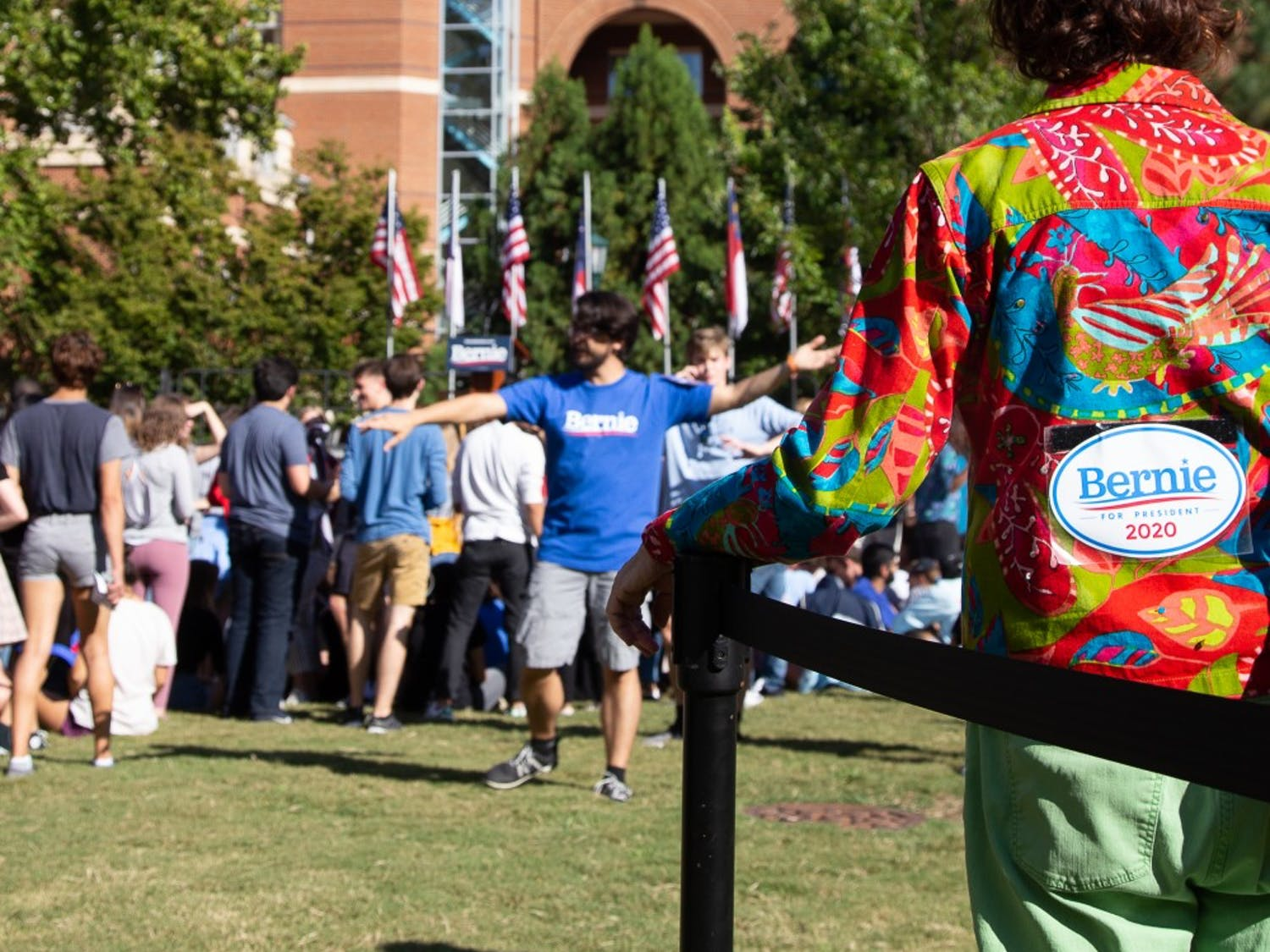 Volunteers help organize and facilitate Senator Bernie Sanders' visit to campus on September 19, 2019. Senator Sanders is promoting his second campaign to be the democratic candidate for the Presidential Election.