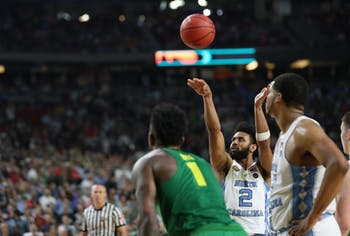 North Carolina guard Joel Berry (2) shoots one of two free throws in the final seconds of the game. With a 1-point lead Berry missed both shots after forward Kennedy Meeks (3) missed both of his just moments before.