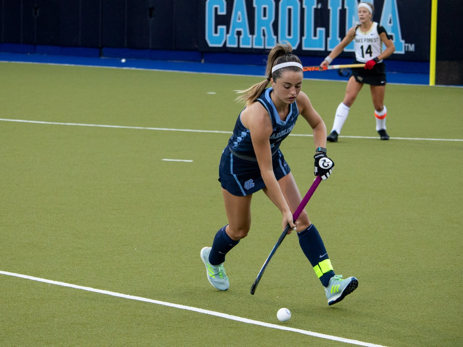 Junior forward Erin Matson (1) makes a pass during a game against Wake Forest on Friday, Oct. 30, 2020.