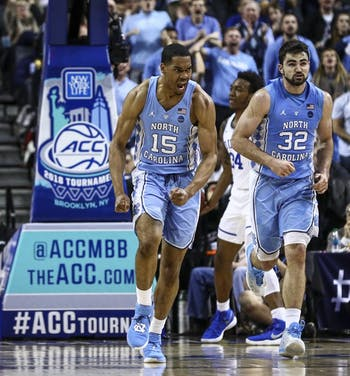Garrison Brooks (15) jogs back on defense against Duke on March 9 in the ACC Tournament semifinals in Brooklyn. Photo courtesy of David Welker, theACC.com.