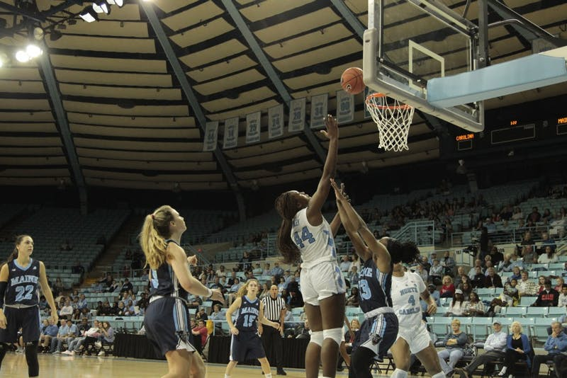 UNC sophomore Janelle Bailey (44) shoots a basket during the game against Maine on Sunday, Dec. 2, 2018. UNC lost to Maine 85-73.