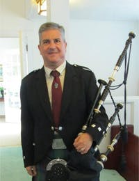 Bill Caudill will be playing the bagpipes at the Tales and Tunes of the Scottish Highlands event on March 23rd. Photo Courtesy of Bill Caudill.