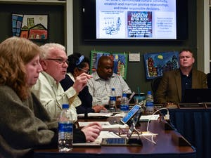 Orange County Schools Board of Education member Matthew Roberts speaks at a meeting on Feb. 10, 2020.