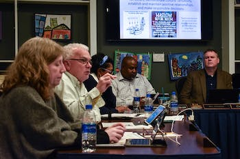 Orange County Schools Board of Education member Matthew Roberts speaks at a meeting on Feb. 10, 2020.