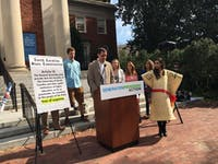Graig Meyer, a member of the North Carolina General Assembly, speaks about the student debt crisis at a press conference held by Generation Progress Action on Oct. 27, 2016.