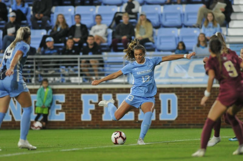 First-year forward Isabel Cox (13) attempts a shot against Florida State on Thursday, Oct. 24, 2019 at Karen Shelton Stadium.
