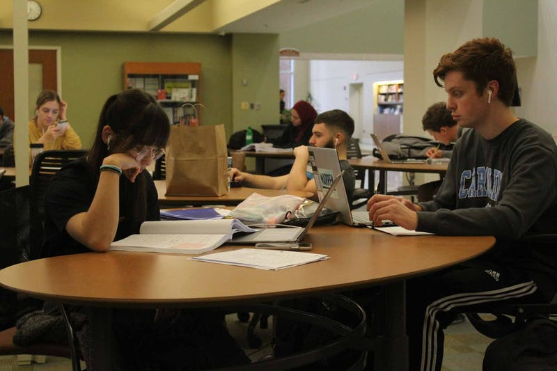 Students study in Davis Library on Tuesday Feb. 25, 2020.
