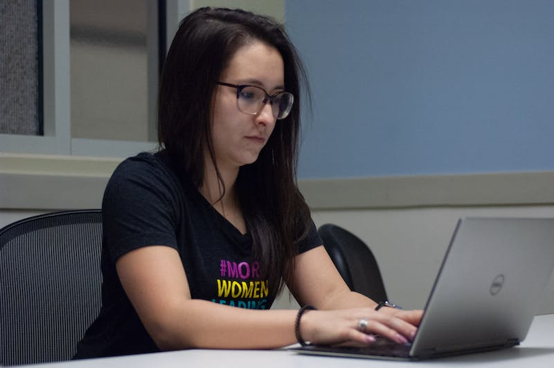 Harmonie Jacobson is photographed at the McColl Building at the Business School on Feb.22, 2020. Jacobson is the President of Women Carolina in Business.
