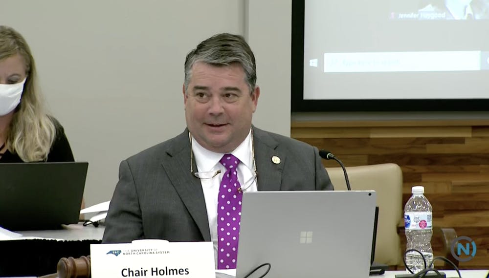 <p>Chairperson James Holmes Jr. speaks at the Board of Governors' Committee on Budget and Finance meeting on Wednesday to address fundings allocated for COVID-19, adjustments for tuition for in-state and out-of-state students next year and school fees.&nbsp;</p>