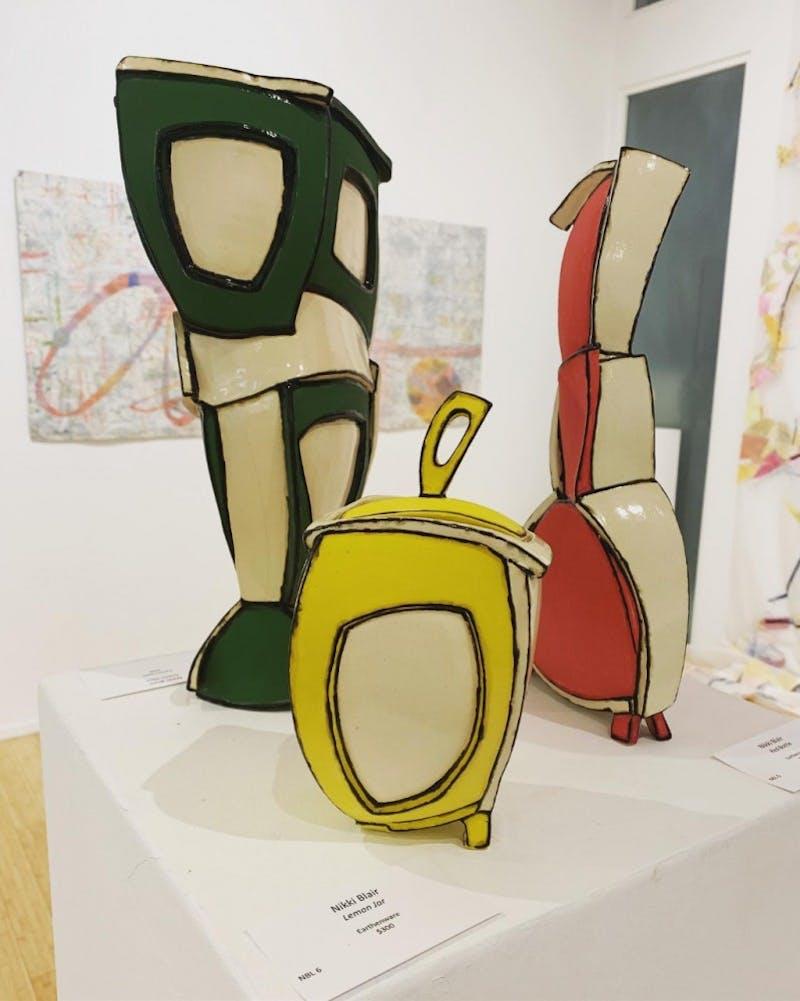 Nikki Blair's ceramics on display at the 6@FRANK exhibition at FRANK art gallery. Photo courtesy of Natalie Knox.