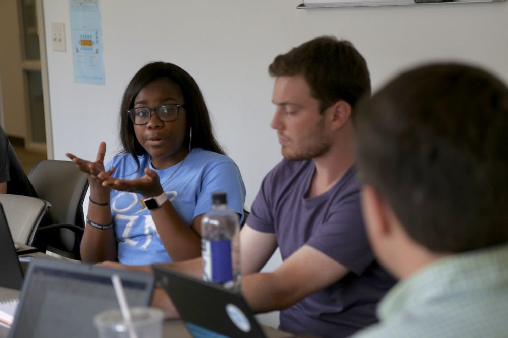<p>Sosa Evbuomwan spoke at an Undergraduate Senate committee meeting to discuss the position of Undergraduates statement on Silent Sam on Monday Aug. 27 in the Frank Porter Graham Student Union.</p>