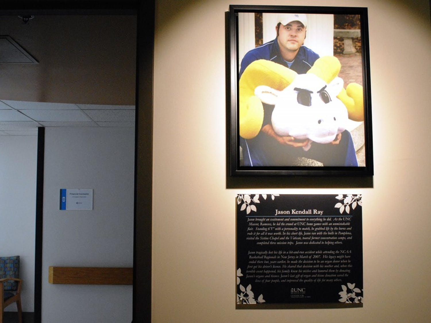 UNC Hospitals opened Jason Ray Transplant Clinic to honor former student and UNC mascot.