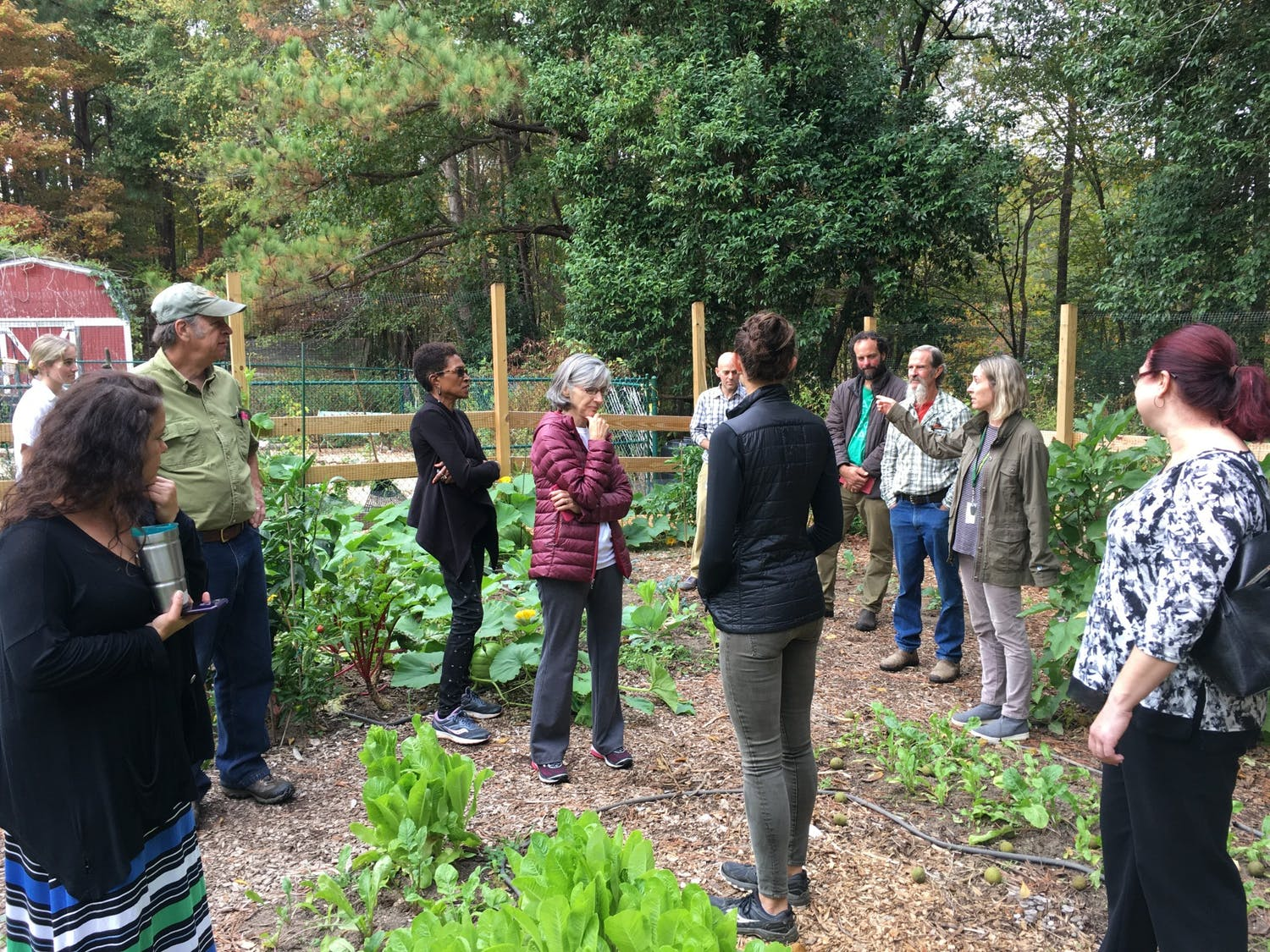 Food Council members and elected officials learn about the importance of school gardens at a school garden tour at Estes Hill Elementary led by the CHCCS Sustainability Director Dan Schnitzer. Photo courtesy of Ashley Heger.