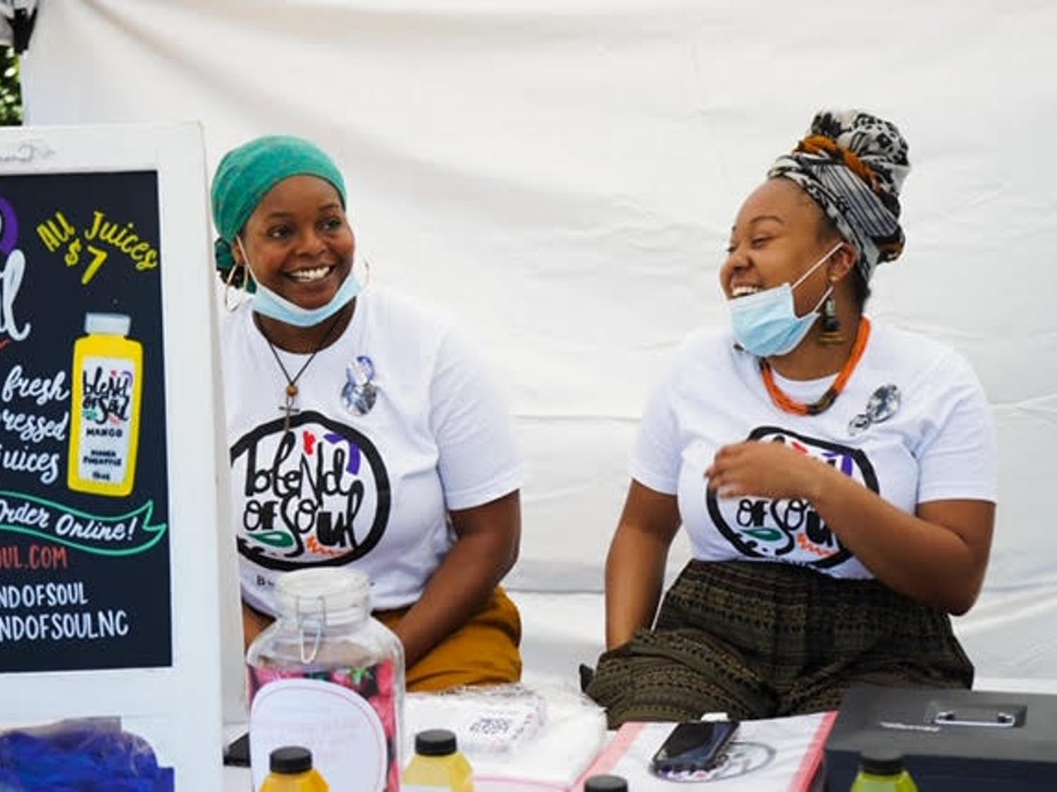 Margo Newkirk (left) and Kiera Gardner (right) run Blend of Soul at the Black Farmers' Market in Durham, NC. Photo courtesy of Samantha Everette.