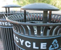 Recycling bins near Kenan Stadium on UNC Campus.