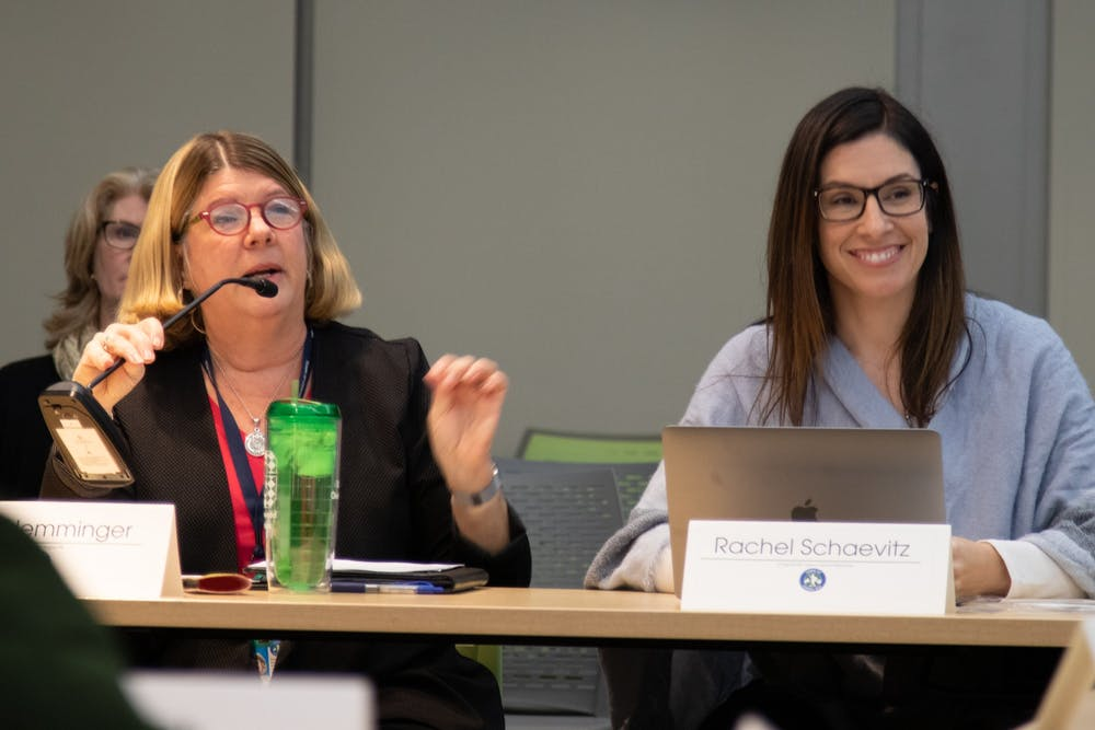 Chapel Hill Mayor Pam Hemminger speaks alongside council member Rachel Schaevitz during a Chapel Hill Town Council Work Session at the Chapel Hill Public Library on Wednesday, Feb. 12, 2020.